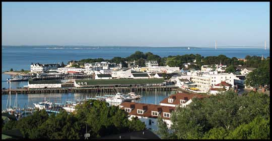 Mackinac Island Harbor and City view