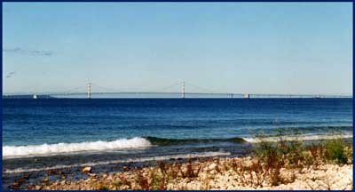Mackinac Bridge from Shore in Mackinaw City