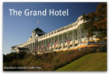 The Grand Hotel is on Mackinac Island in northern Michigan.