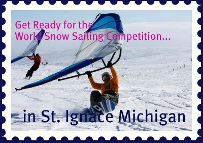 snow sailing world cup competition to be held in St. Ignace Michigan
