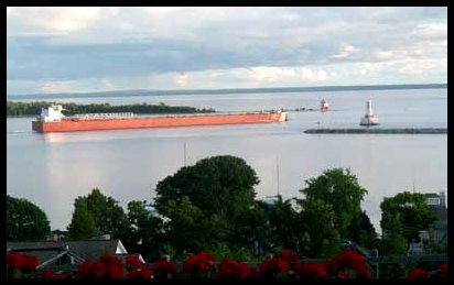 Freighter in the Straits of Mackinac
