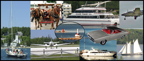 Getting to Mackinac Island by car and ferry, personal boat, or by air, the trip to the Island is an enjoyable adventure.  The Island is located in Lake Huron at the Straits of Mackinac in Michigan.
