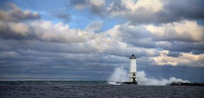 Frankfort North Breakwater Light House with Crashing Waves!